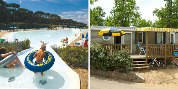 Camping Fabulous Italy splashpool and an example of a Waikiki mobile home